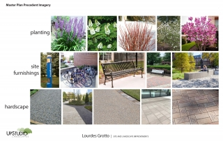 precedent imagery of site improvements and plantings